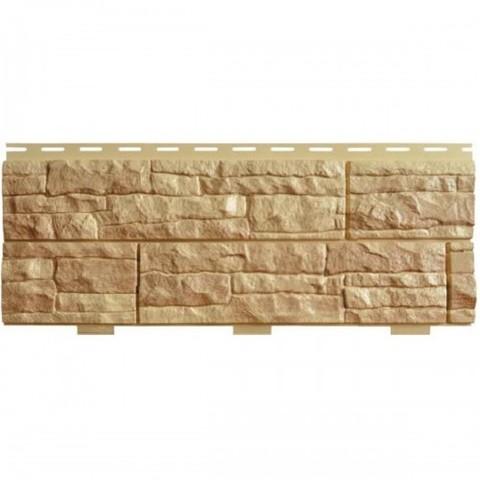 Фасадные панели (Цокольный Сайдинг) Доломит Скалистый Риф Люкс Янтарь