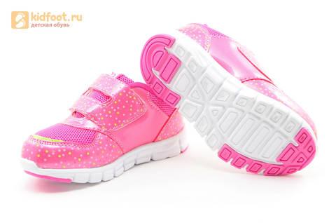 Светящиеся кроссовки для девочек Фиксики на липучках, цвет фуксия, мигает картинка сбоку. Изображение 9 из 15.