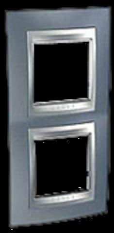 Рамка на 2 поста, вертикальная. Цвет Грэй-алюминий. Schneider electric Unica Top. MGU66.004V.097