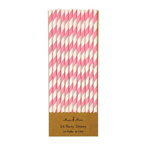 Трубочки для напитков в белую и розовую полоску, 24шт.
