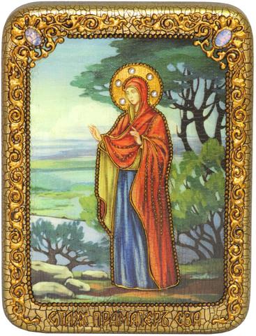 Инкрустированная икона Святая праматерь Ева 20х15см на натуральном дереве, в подарочной коробке