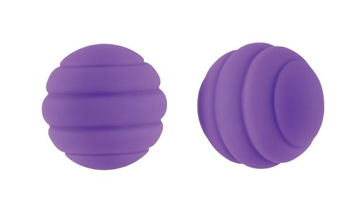 Фиолетовые стальные вагинальные шарики с силиконовым покрытием