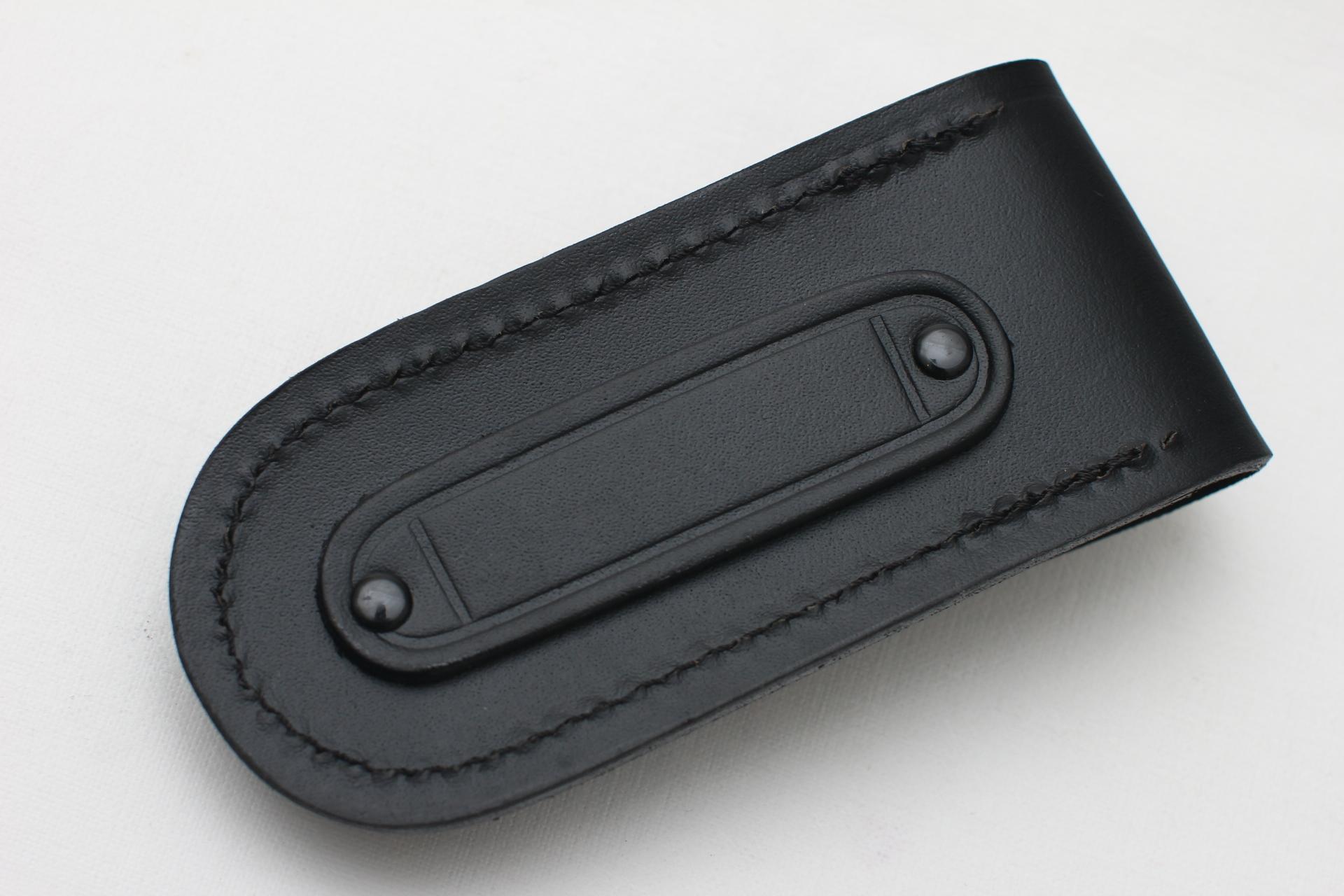 Чехол кожаный черный для ножа или мультитула - фотография