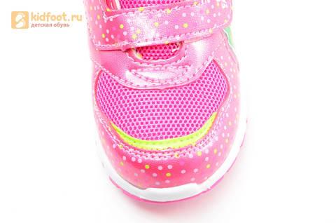 Светящиеся кроссовки для девочек Фиксики на липучках, цвет фуксия, мигает картинка сбоку. Изображение 11 из 15.