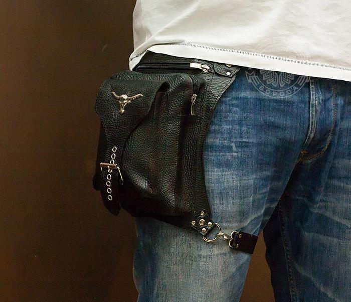 BAG369-1 Мужская набедренная сумка ручной работы из натуральной кожи фото 08