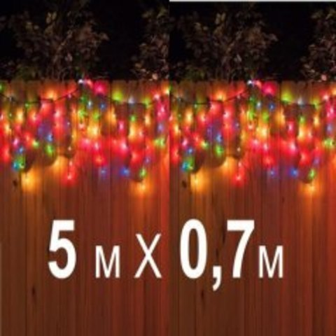 Гирлянда Бахрома ПВХ 5 метров на 0,7 метра разноцветная