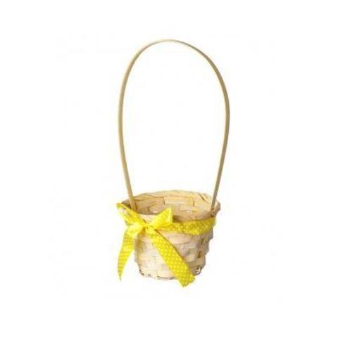 Корзина плетеная (бамбук), D13x9xH31см, желтый