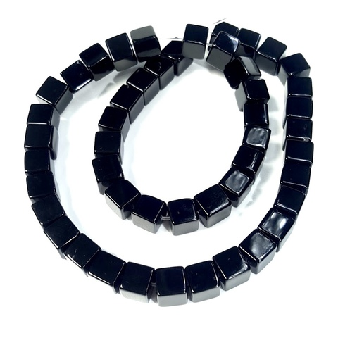 Бусины оникс черный Куб 8 мм