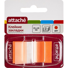 Клейкие закладки пласт. 1цв.по 25л. 25ммх45 оранж Attache