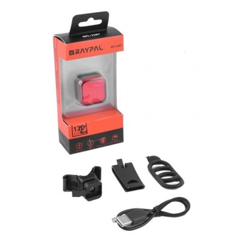 Фонарь для велосипеда Raypal RPL-2287-3-COB, габарит, ЗУ microUSB, встроен. аккумулятор, влагозащита