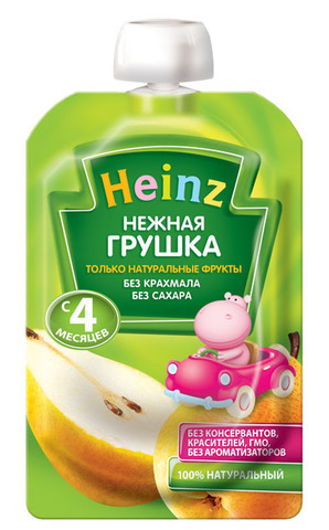 Heinz Пюре Нежная груша (пауч 100гр) с 4мес