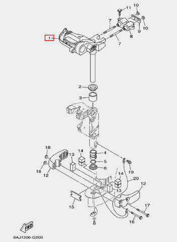 Кронштейн рулевого управления для лодочного мотора F20 Sea-PRO (20-1)