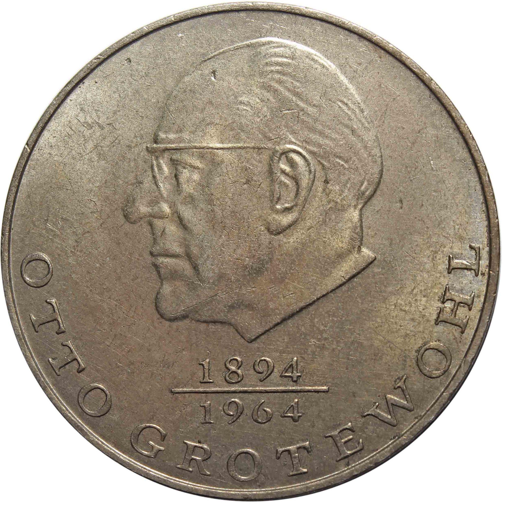 20 марок. Отто Гротеволь. (A). Германия-ГДР. Медноникель. 1973 год. XF
