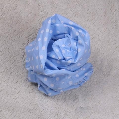 Стандартная простынь на резинке Горох (голубая)