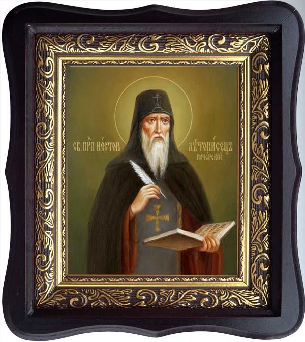 Нестор Летописец Печерский Преподобный. Икона на холсте в киоте