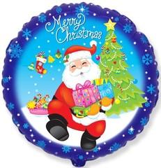 F Круг, Санта с подарками, Синий, 18''/46 см, 1 шт.
