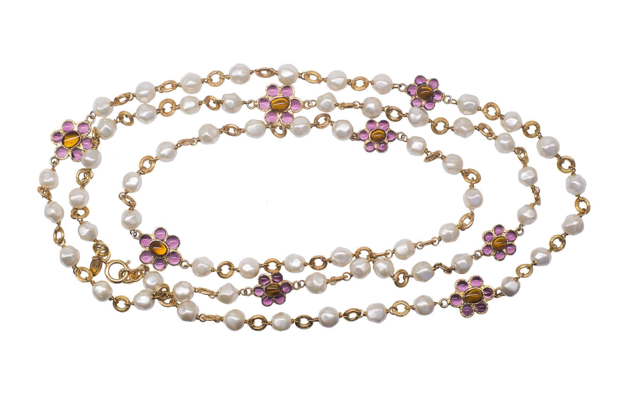 Chanel baroque pearls Gripoix glass necklace