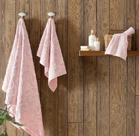 Набор полотенец  Baroc (розовый)  3 пр 30х50 50Х100 и  90Х150   TIVOLYO HOME Турция