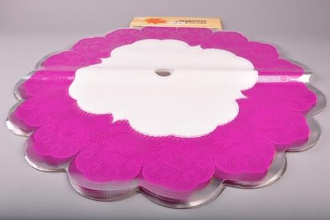 Салфетка ажурная круг d60 см цвет: фуксия