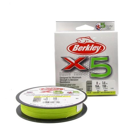 Плетеная леска Berkley X5 150м Ярко-желтая 0,10мм 3,6кг