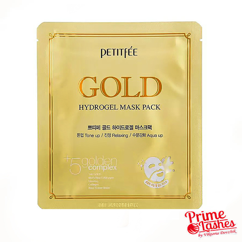 Гидрогелевая омолаживающая маска для лица с частичками золота Petitfee