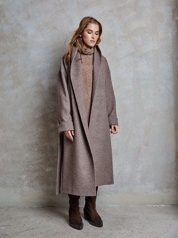 Пальто из шерсти на подкладке с шалевым воротником коричневый