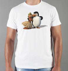 Футболка с принтом мультфильма Пингвины Мадагаскара (Penguins of Madagascar) белая 002