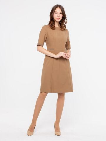 Фото бежевое расклешенное платье с контрастной отделкой на молнии - Платье З122-309 (1)