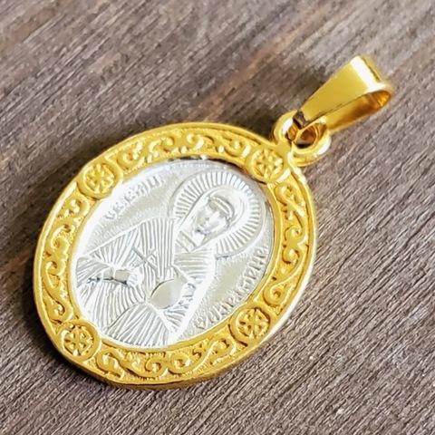 Нательная именная икона святая Анастасия с позолотой кулон медальон с молитвой