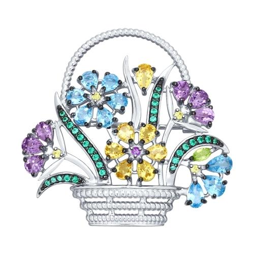 Серебряная брошь «Корзина с цветами»
