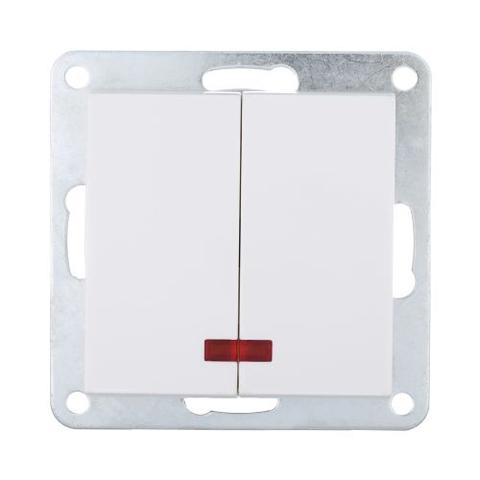 Выключатель двухклавишный с индикаторами (схема 5L) 16 A, 250 В~. Цвет Белый. LK Studio LK80 (ЛК Студио ЛК80). 841204