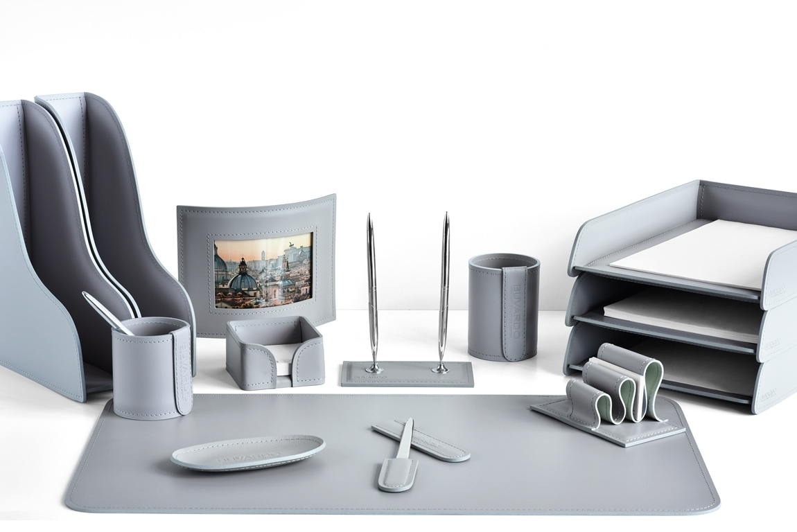 набор руководителя на стол с фоторамкой цвет серый