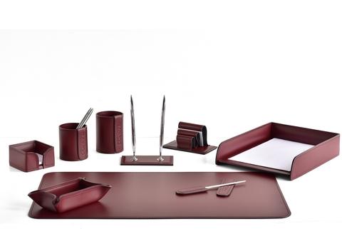 Настольный набор офисный 9 предметов из кожи, цвет бордо