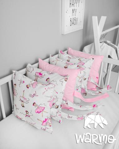 Набір бортиків-подушок в ліжечко 30x30см БАЛЕРИНИ