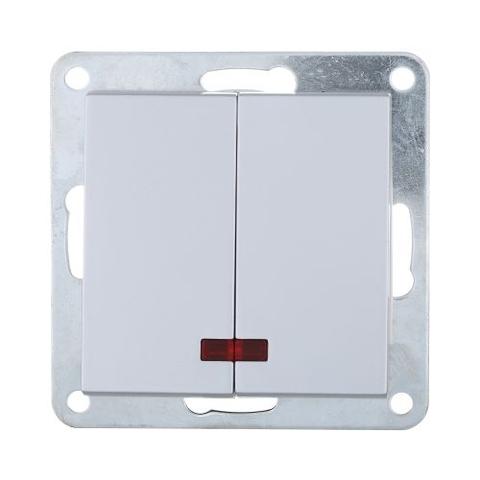 Выключатель двухклавишный с индикаторами (схема 5L) 16 A, 250 В~. Цвет Серебристый металлик. LK Studio LK80 (ЛК Студио ЛК80). 841203