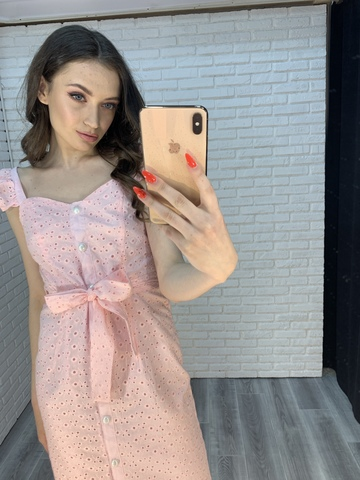 розовое платье на пуговицах nadya