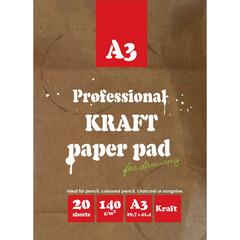 Папка для рисования и эскизов,А3,20л,бл.крафт 140г,02649