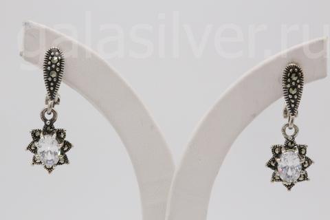 Серьги с марказитом и фианитом из серебра 925