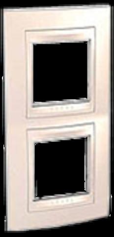 Рамка на 2 поста. Цвет вертикальная Бежевый. Schneider electric Unica Хамелеон. MGU6.004V.25