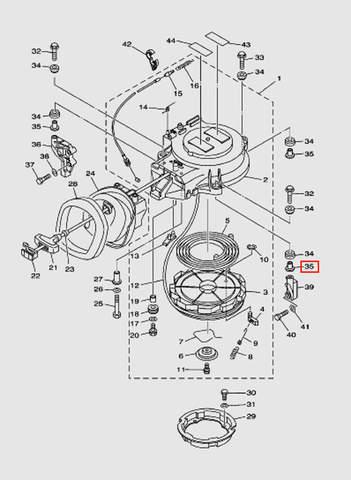 Втулка болта крепления стартера для лодочного мотора T40 Sea-PRO (7-35)