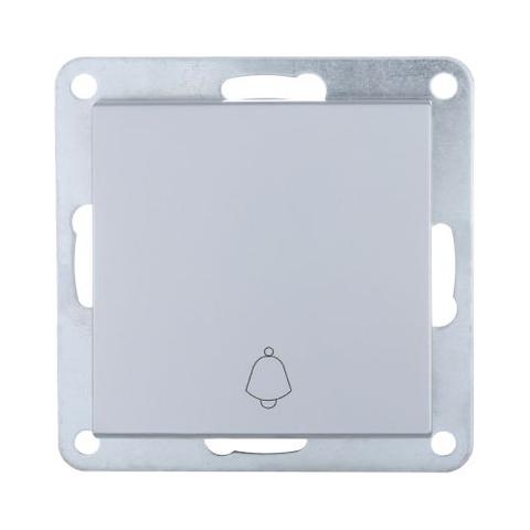 Выключатель-кнопка одноклавишный (схема 1Т) 10 A, 250 В~. Цвет Серебристый металлик. LK Studio LK80 (ЛК Студио ЛК80). 840503