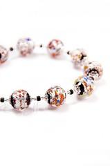 Ожерелье из муранского стекла Арлекино серебристое с крупными бусинами