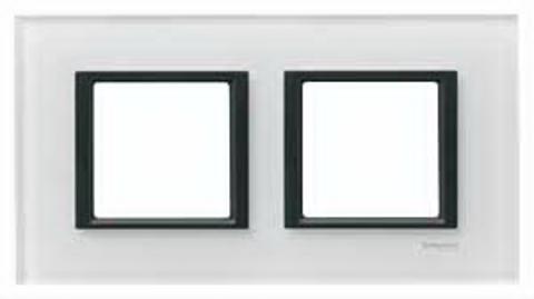 Рамка на 2 поста. Цвет Белое стекло. Schneider electric Unica Class. MGU68.004.7C2