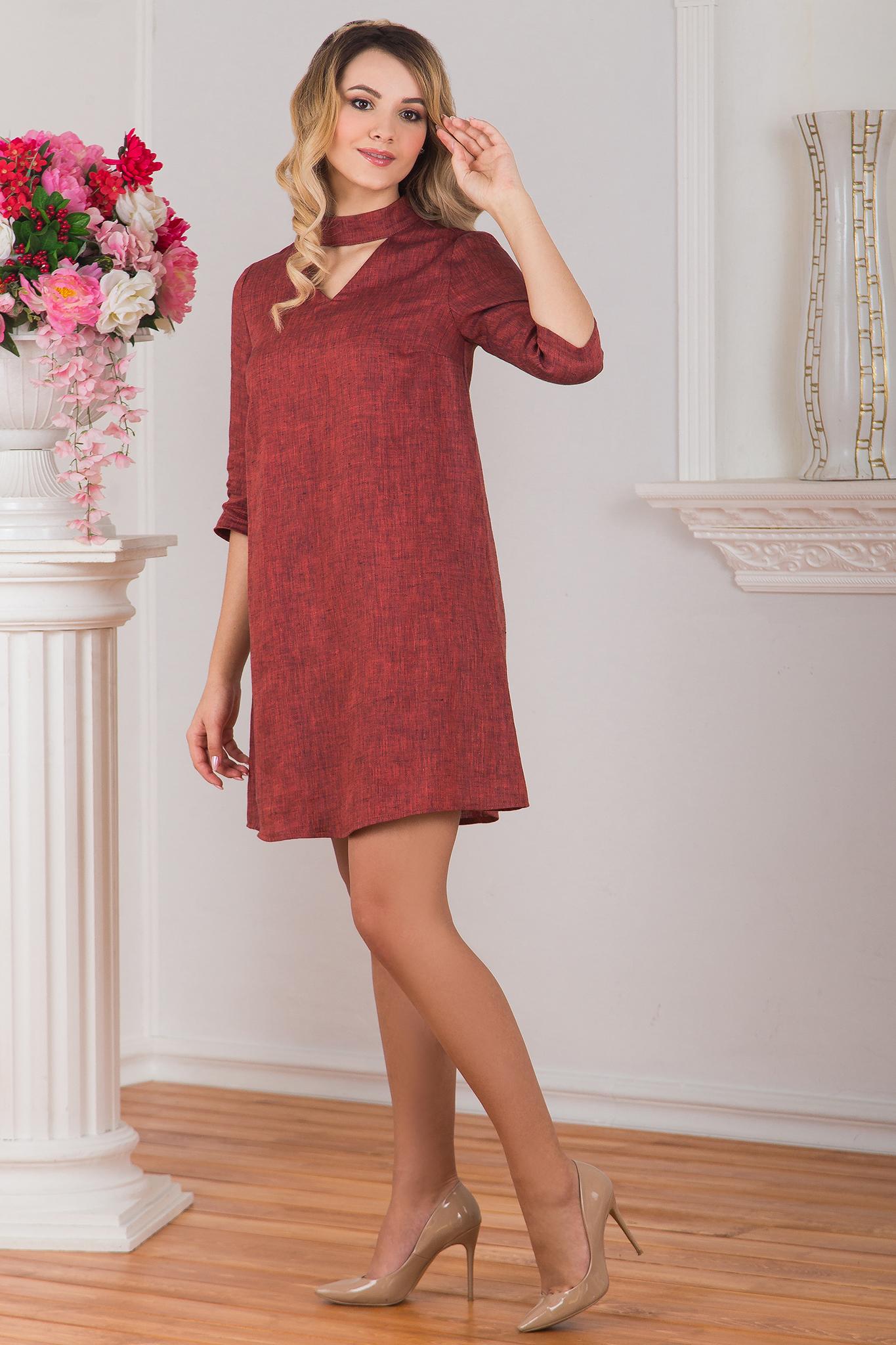Платье льняное Красный меланж вид сбоку