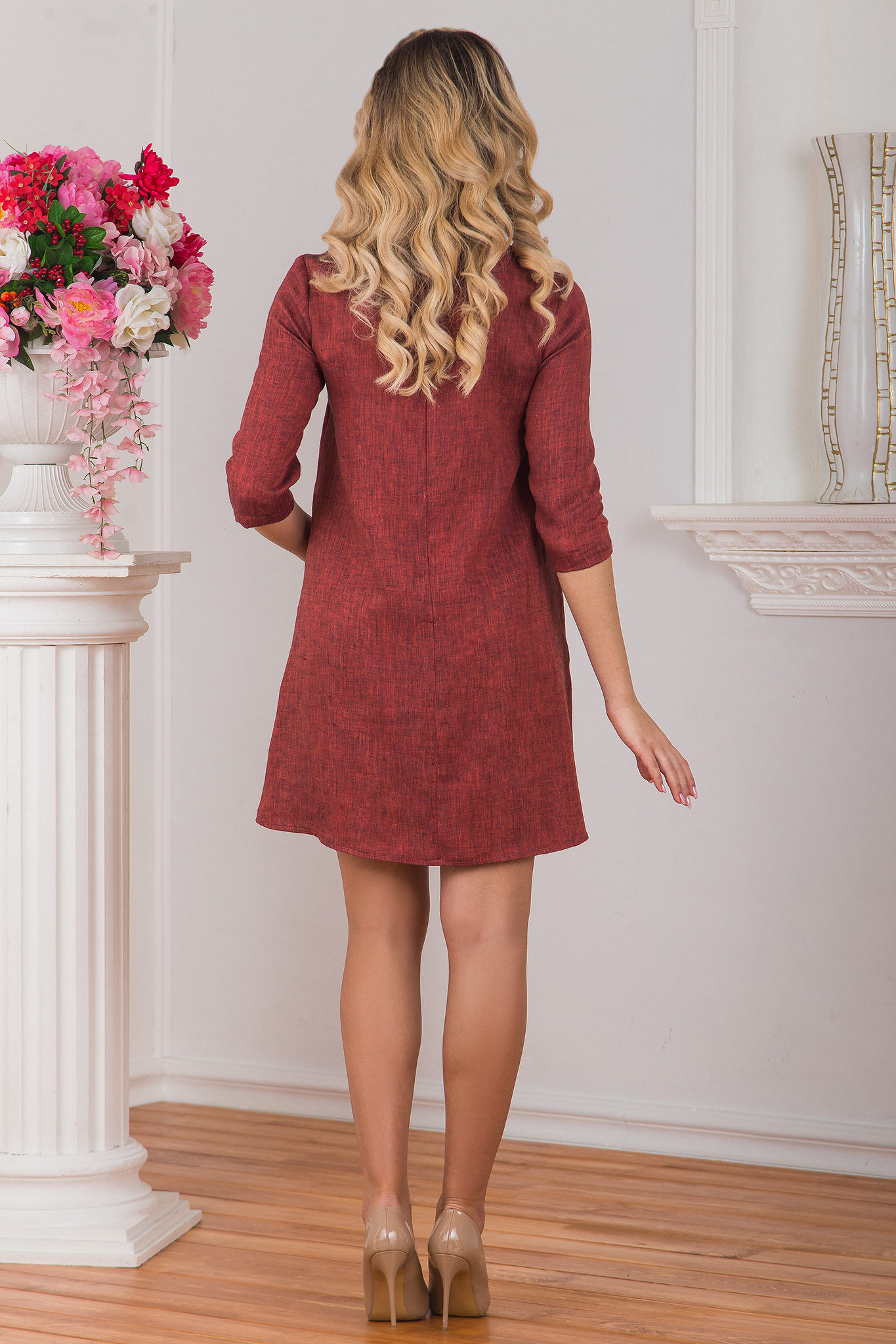Платье льняное Красный меланж вид сзади