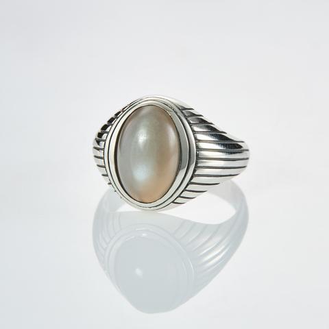 Кольцо HORUS - Серый лунный камень