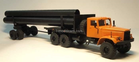 KRAZ-255 pipe carrier with trailer Agat Mossar Tantal 1:43