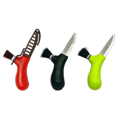 Нож Morakniv Karl-Johan для грибов, нержавеющая сталь, цвет красный, щетка из конского волоса