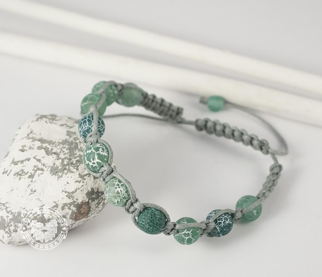 BS619 Мужской браслет ручной работы из ярко-зеленого агата. «Boroda Design» фото 04
