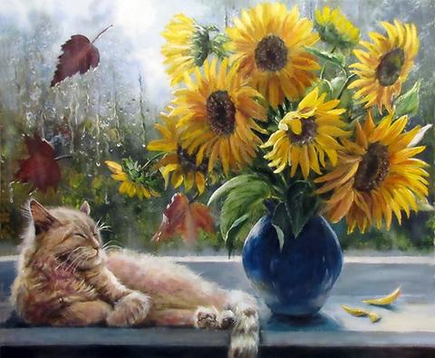 Картина раскраска по номерам 40x50 Подсолнухи и кот